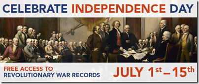 Free access to Revolutionary War collections on Fold3 through 15 July 2015