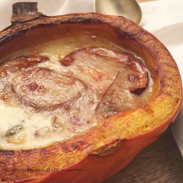 zucca al forno con funghi porcini secchi e fontina