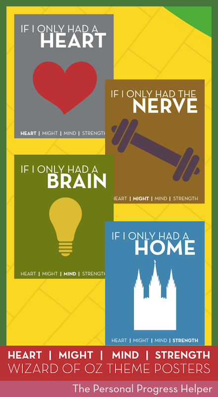 The Wizard of Oz 2015 Theme Posters for Young Women: Heart Might Mind & Strength
