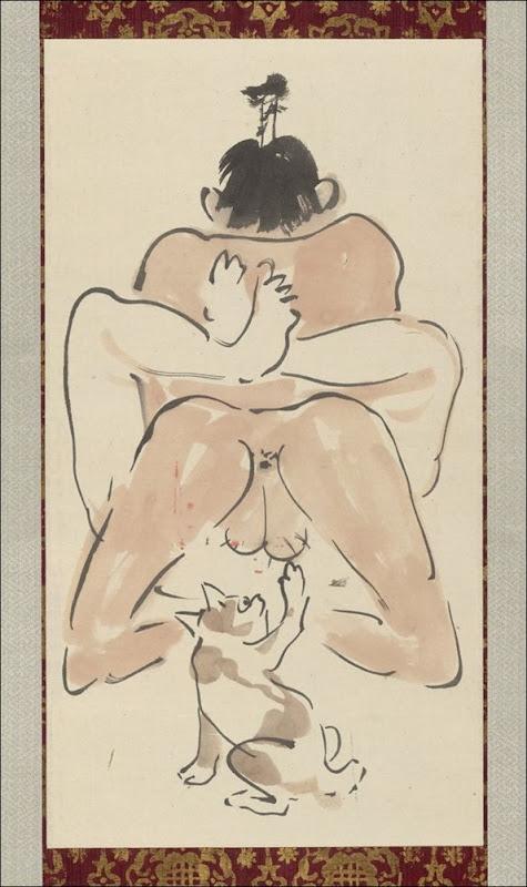 Kawanabe Kyōsai - Comic shunga painting