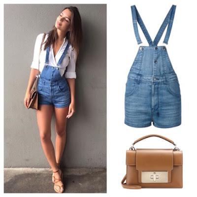 Emily Ratajkowski Emrata Instagram Denim Overall Shorts