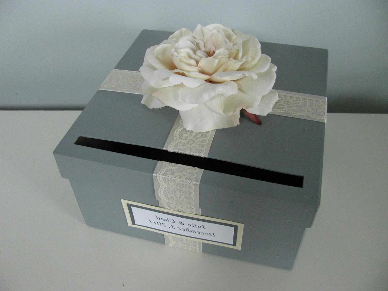 Card Box Bridal Shower Engagement Anniversary Wedding Card Box Gray and