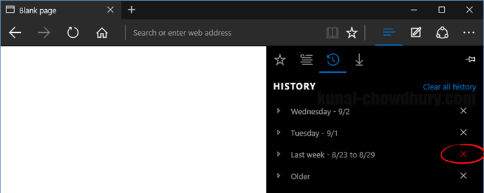 Clear browser history in Microsoft Edge for an entire date range (www.kunal-chowdhury.com)