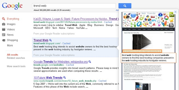 Trend web on google.com