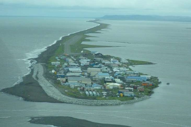 Aerial view of KIvalina, an Inupiat village in the Chukchi Sea, Alaska. Photo: Re-locate Kivalina