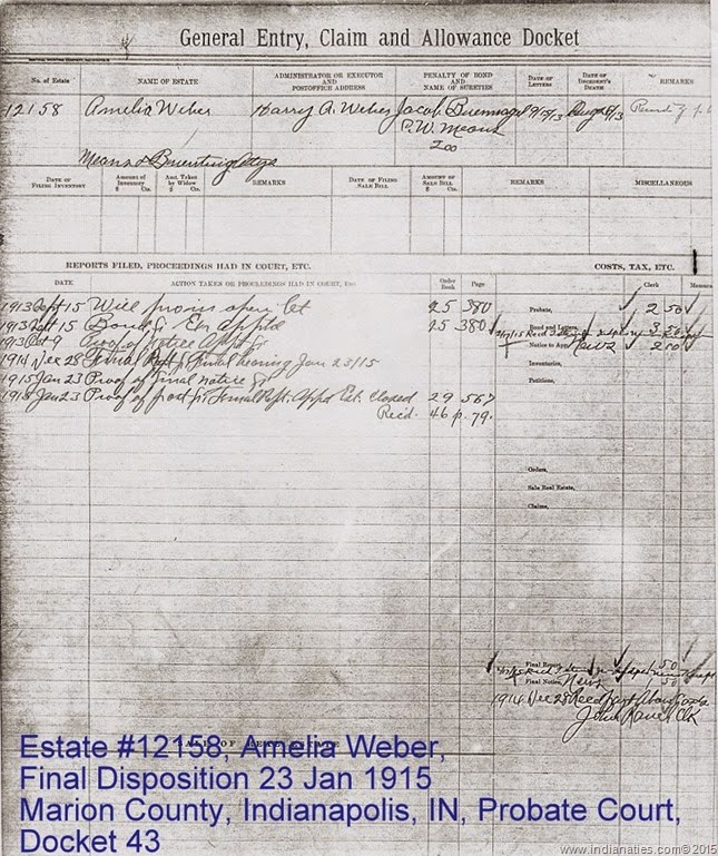 Amelia Weber, Will Settlement, Jan 1915