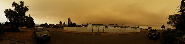 Smoke from wildfires in British Columbia darkens skies over Port Angeles, Washington, 5 July 2015. Photo: Christen Janda
