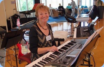 The Club's Events Manager, Diane Lyons, preparing to play her Korg Pa900. Photo courtesy of Dennis Lyons.