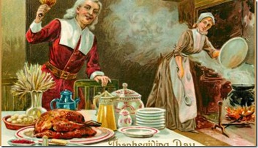 Thanksgiving couple in kitchen