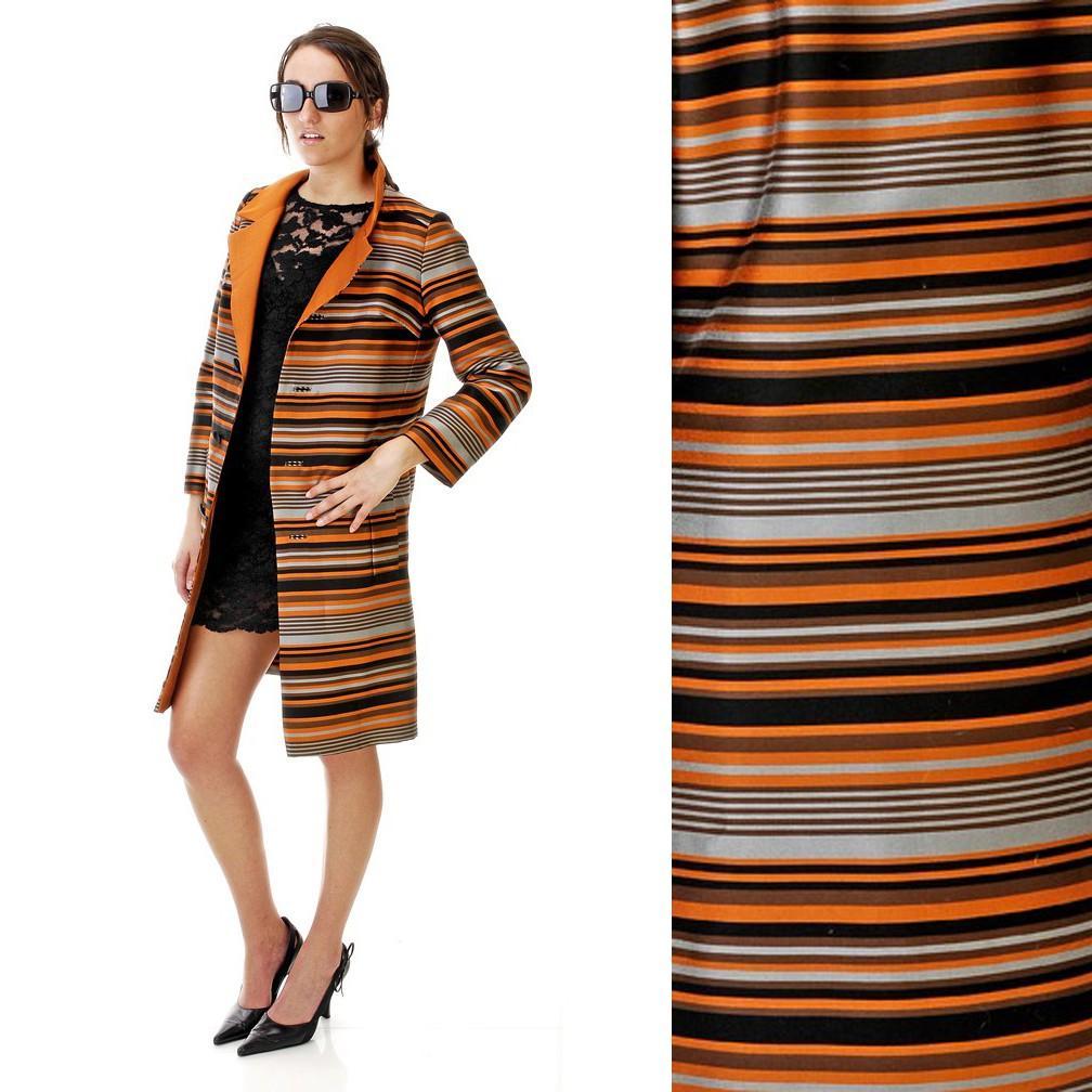 Vintage 1960s Gorgeous Jackie O. Orange Brown Striped Jacket Medium Large