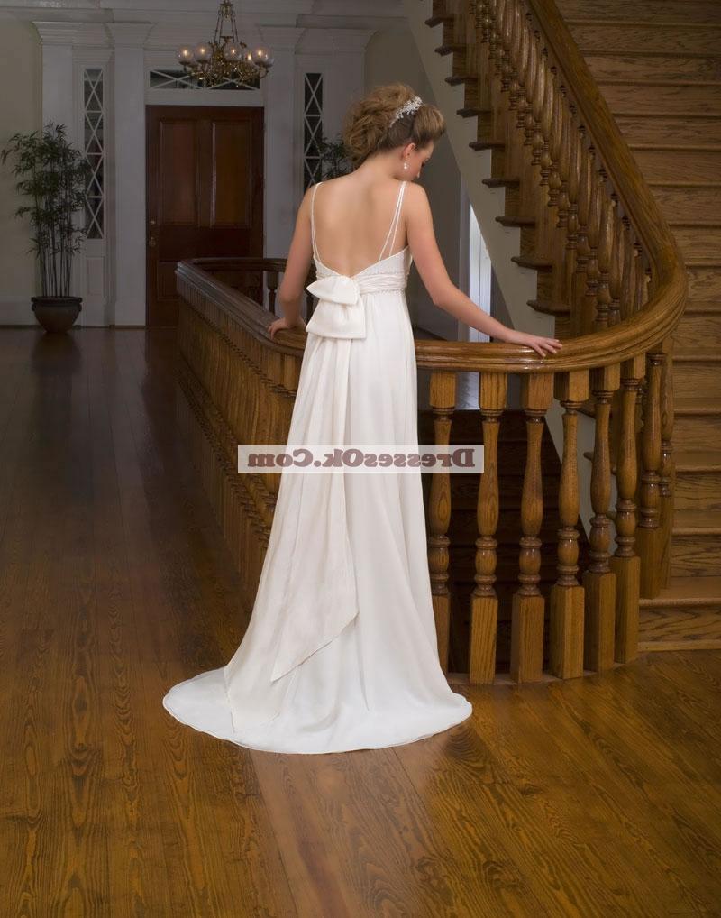 Classical empie strap chapel chiffon wedding dresses WD10EMER10118