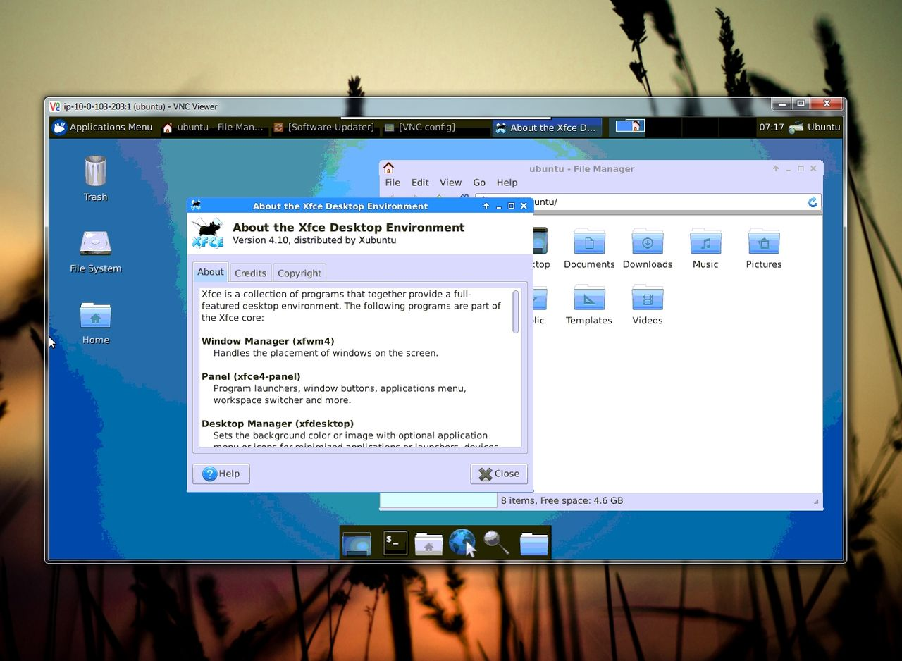 Icebergs Xubuntu via VNC in Windows