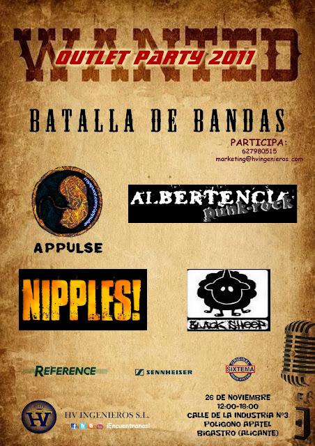 Cartel del evento 'Batalla de Bandas' en las instalaciones de HV Ingenieros del polígono industrial de Bigastro para el sábado 26-11-2011