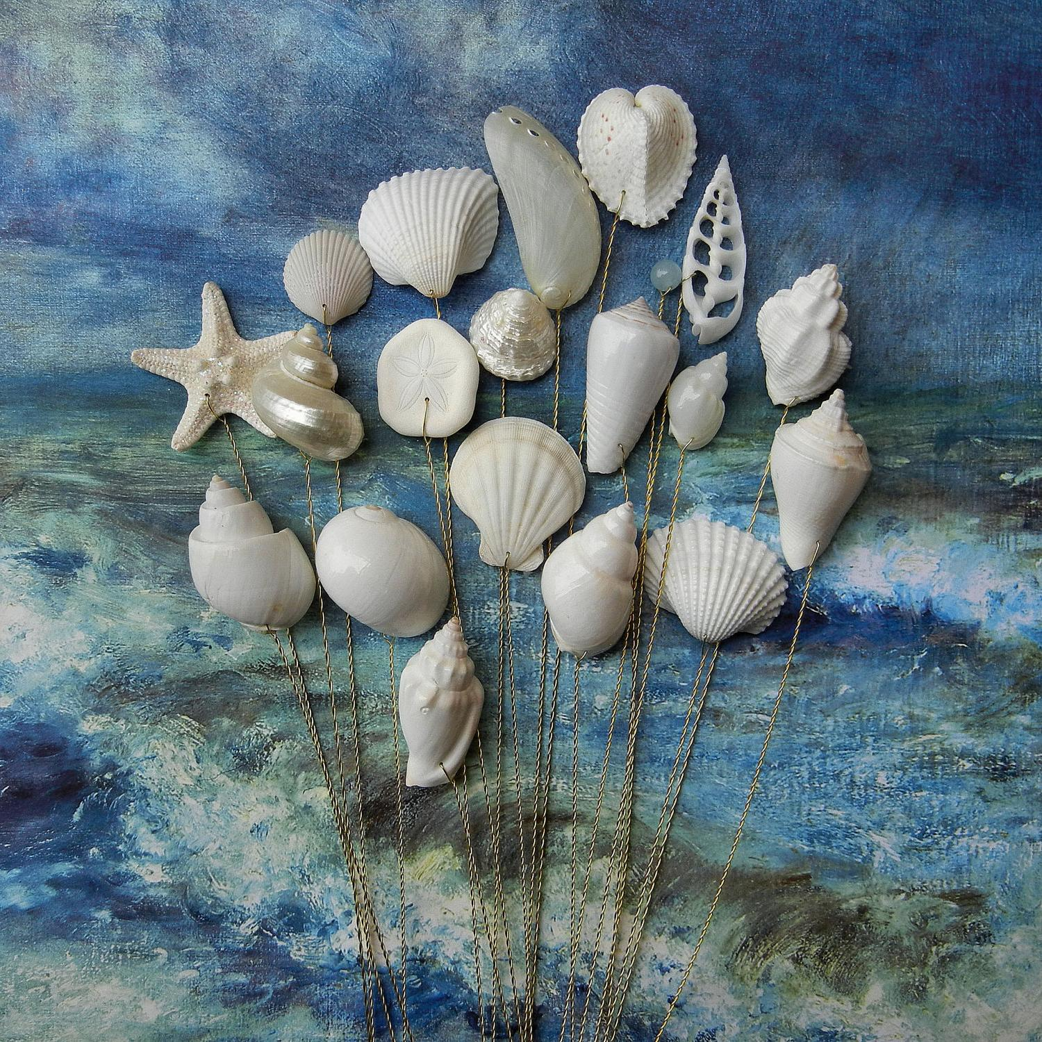 Seashells - 18 for Wedding Bouquets or Centerpieces. From ShellScapes