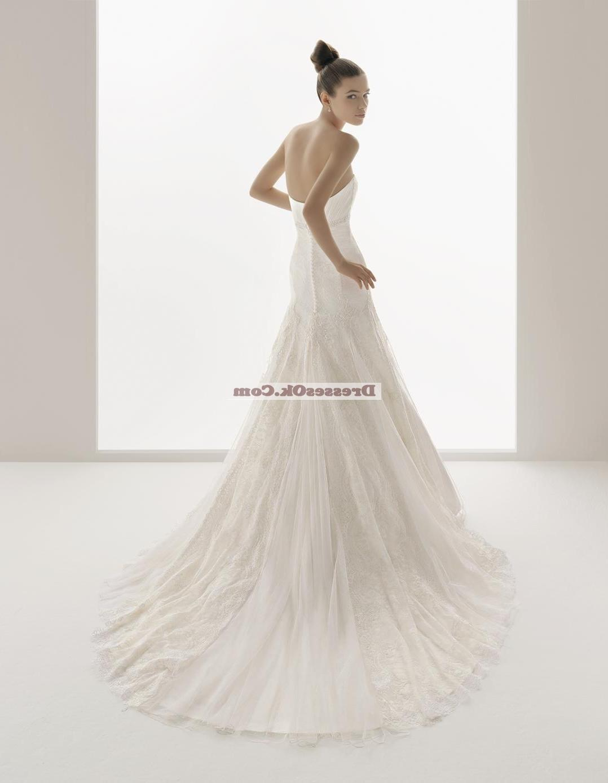 Simple columns sweetheart-neck chapel Wedding Dress AIRBWD055