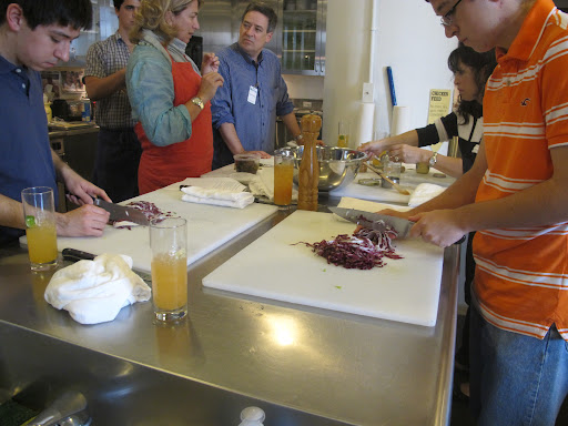 Paul and Nicholas chop radicchio for the salad