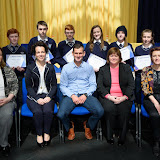 Second Year Academic Prize Winners at the Mulroy College Junior Prize Giving.   Seated from left are Karen Patton, Fiona Temple, Principal, Shaun McFadden, Guest Speaker, Catherine McHugh, Vice Principal and Dympna English. Back from left are Mikella McCauley, Ben Harkin, Raymond Boyce, Zak Gibson, Rosa Barrett, Ally O'Toole, Siobhane Sweeney and Conor Boyce. Photo:- Clive Wasson