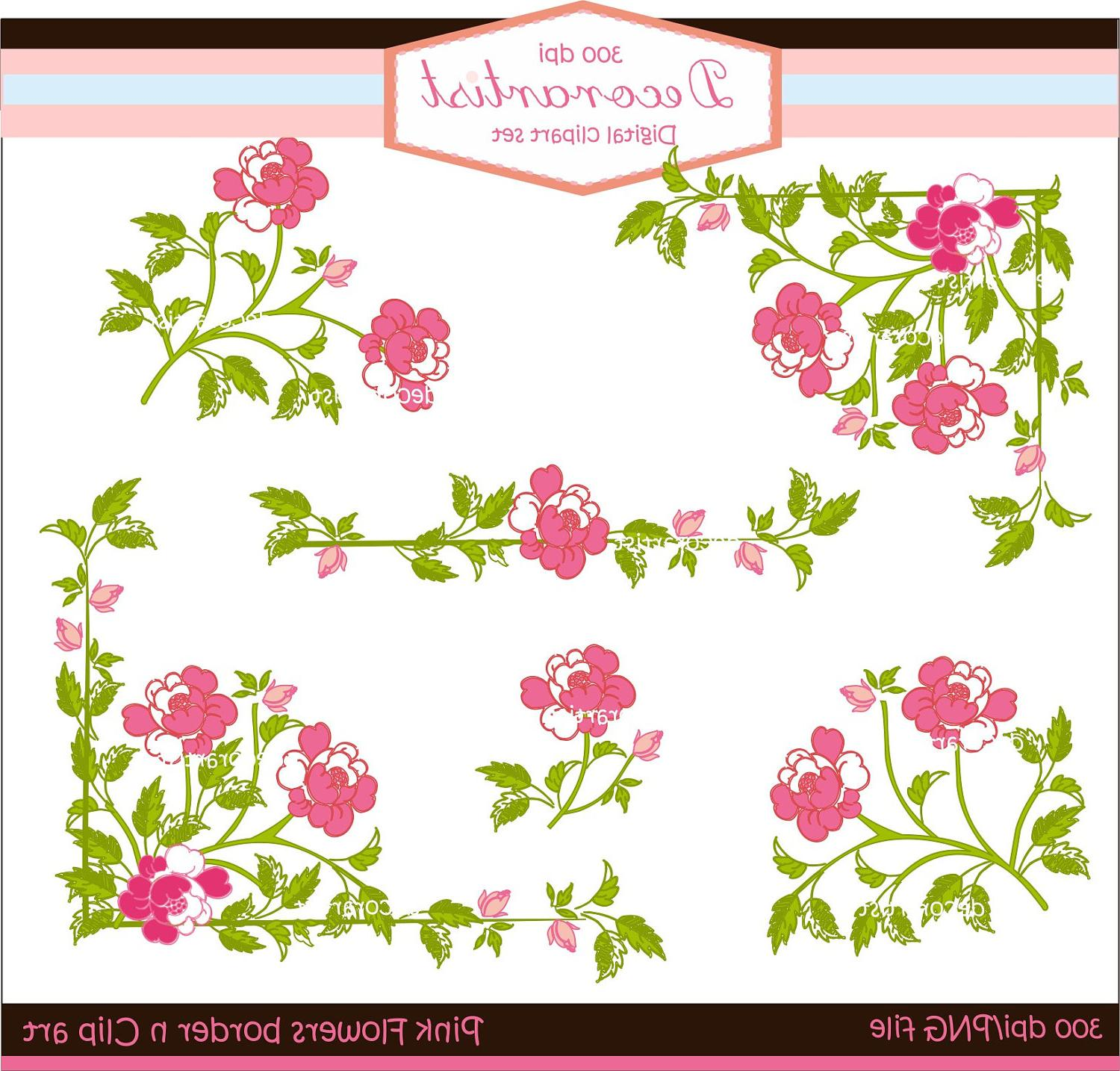 Digital clip art, Pink flowers