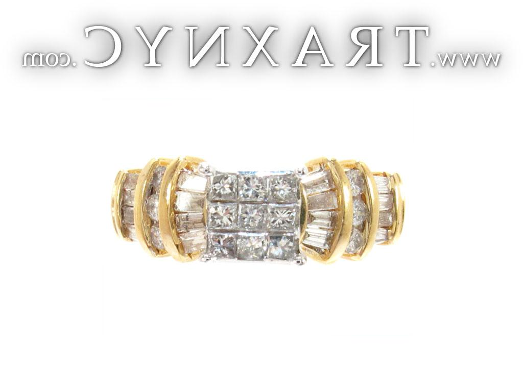 for Yellow Gold Princess Baguette Cut Invisible Channel Cut Diamond Ring