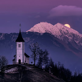 Full moon by Stane Gortnar - Buildings & Architecture Public & Historical ( hills, moon, church, slovenia, lanscape, jamnik, historical )