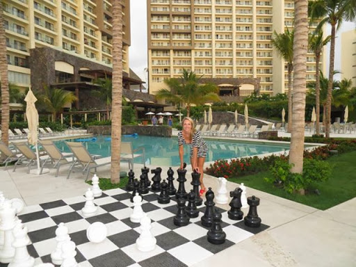 MegaChess Giant Plastic Chess Set at a Lovely Mexican Resort<br /><br />Our beautiful friends Oksana and Illana took a quick vacation at a beautiful Mexican Resort and came across our most versatile Giant Chess Set, the MegaChess Plastic Chess Set with a 25