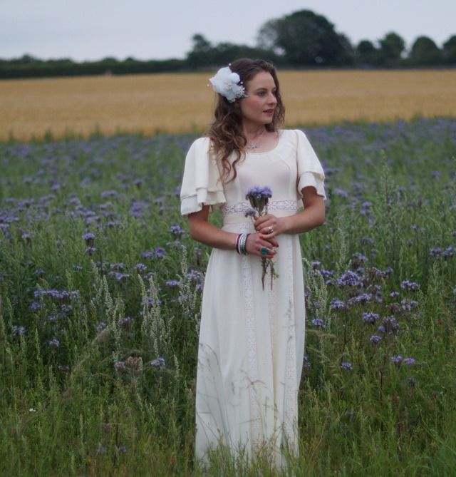 bride in a purple field
