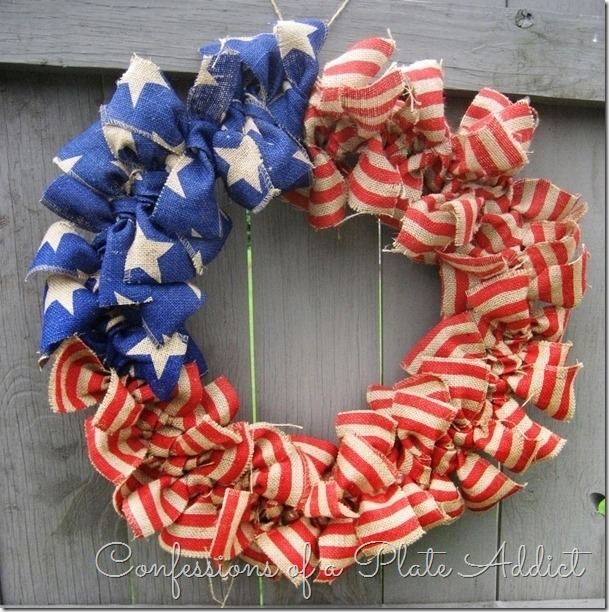 CONFESSIONS OF A PLATE ADDICT Easy Stars and Stripes Burlap Wreath...Just Tie It!2