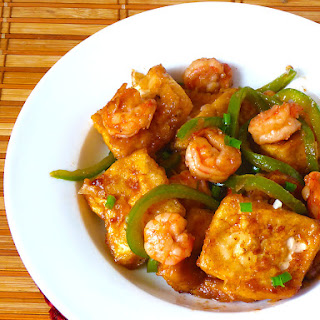 Chinese Tofu With Shrimps (Stir-fry)
