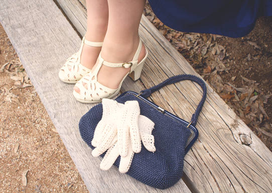 Adore platform chunky heels & gloves for a perfect 1940's look | Lavender & Twill