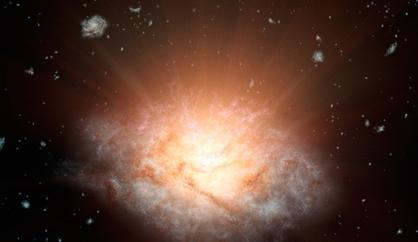 ilustração da galáxia mais luminosa do Universo