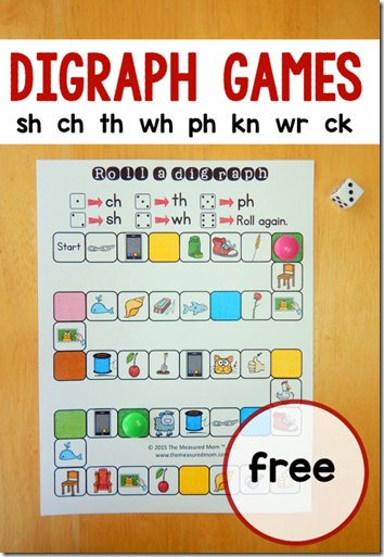 Consonant Blends - free printable game for kids learning digraphs in 1st grade, 2nd grade (language arts, homeschool)