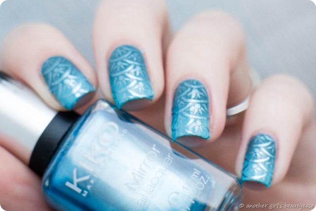 Clairestelle8Sept Nailart Challenge Mermaid Stamping Gradient Blue Scales-4