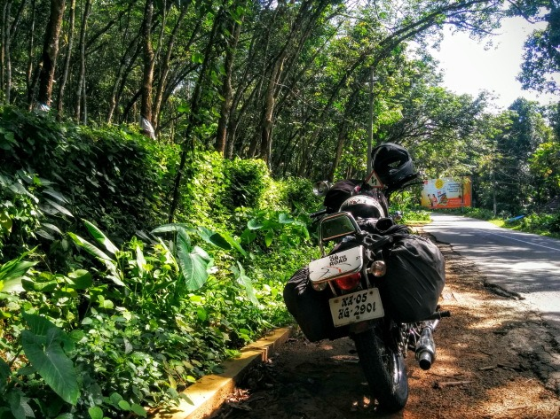 A pit stop next to the rubber plantations of Kerala
