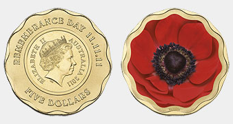 $5 coin with poppy