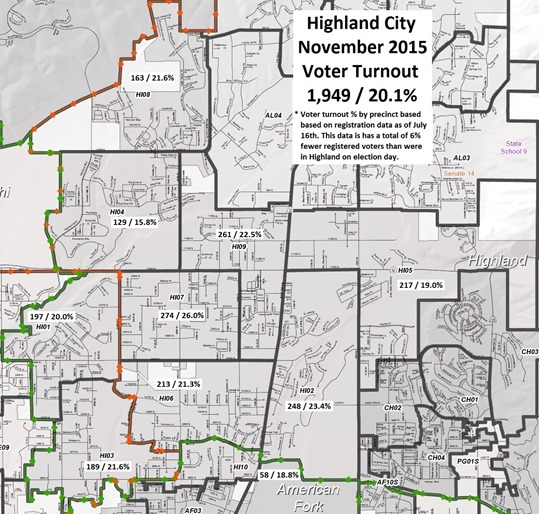 2015 Highland Precincts - Turnout