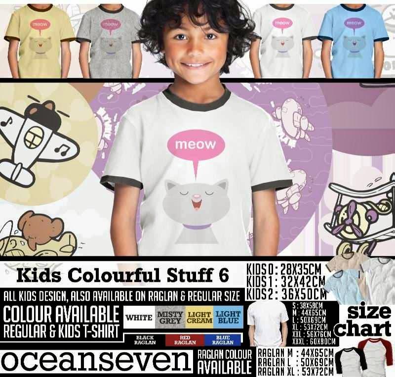 Kaos anak Kids Colourful 6 Lucu Gambar Meow Cat Kucing distro ocean seven