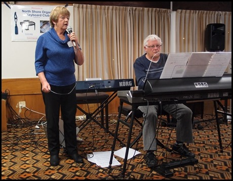 Nelleke Moffat sang a couple of jazz standards for us and accompanied by Rod Moffat on his Korg Pa3X keyboard. Photo courtesy of Dennis Lyons.