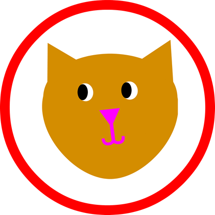 Cat Party Round - Red