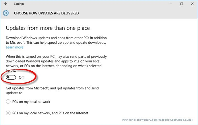 Updates from more than one place in Windows 10 (www.kunal-chowdhury.com)
