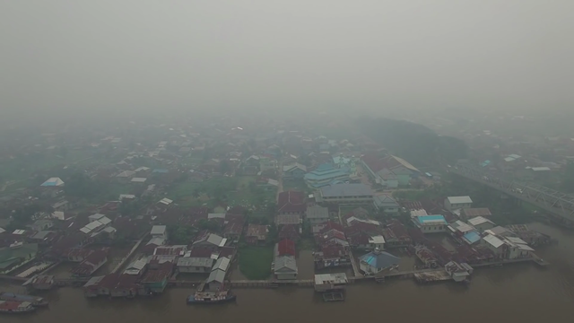 Smoke from burning rainforest darkens skies over Pontianak, the capital of West Kalimantan, Indonesia, 22 September 2015. Photo: Greenpeace