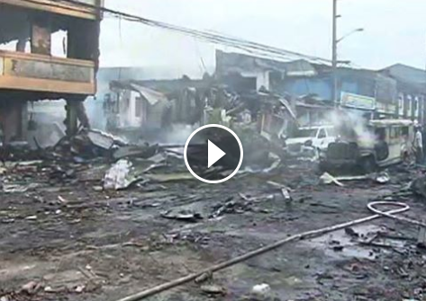 Image of Video footages on scenes following the Bocaue, Bulacan explosion this morning