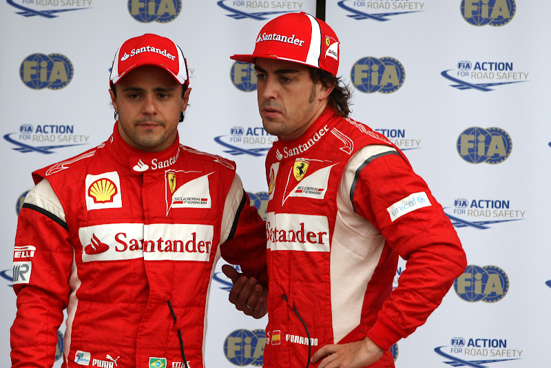 Фелипе Масса и Фернандо Алонсо после квалификации на Гран-при Канады 2011