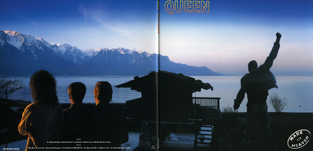 Cover of Queen's Made in heaven album featuring Lake Geneva, Freddie's Statue and Freddie's Lake House