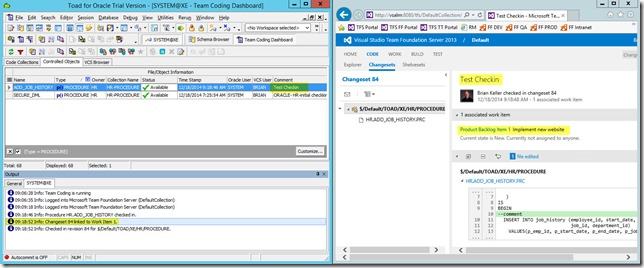 7 - Associating Work Items with Changesets from Toad For Oracle 12.6 - CheckIn Dialog - Changeset with Associated Work Item