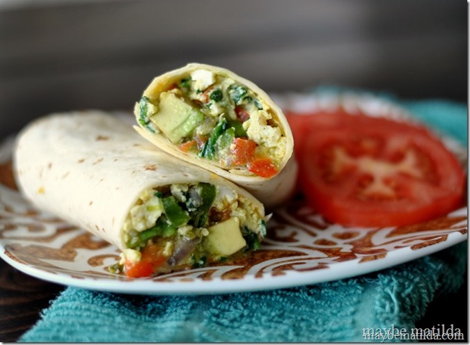 Veggie Stuffed Breakfast Burritos