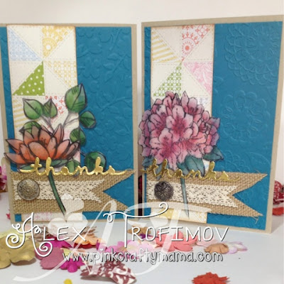 Stampin' Up! stampin up thank you card cards tea for two dsp flowers stamping watercolor watercolour derwent inktense pencils greetings thinlits dies burlap ribbon lace gold foil