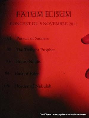 Fatum Elisum : set-list @ Emporium Galorium, Rouen 05/11/2011
