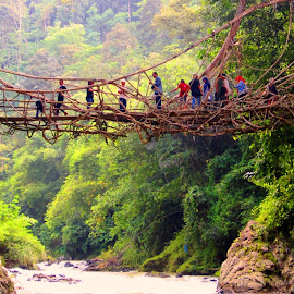 root bridge by Tini Warman - Novices Only Street & Candid ( baduy, street, west java, candid, bridge, people )