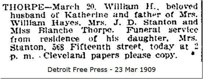 THORPE_William H_funeral notice_DetroitFreePress_23 Mar 1909_DetroitWayneMichigan