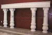 White Marble 4 Column  Fluted Corinthian Column Fire Place
